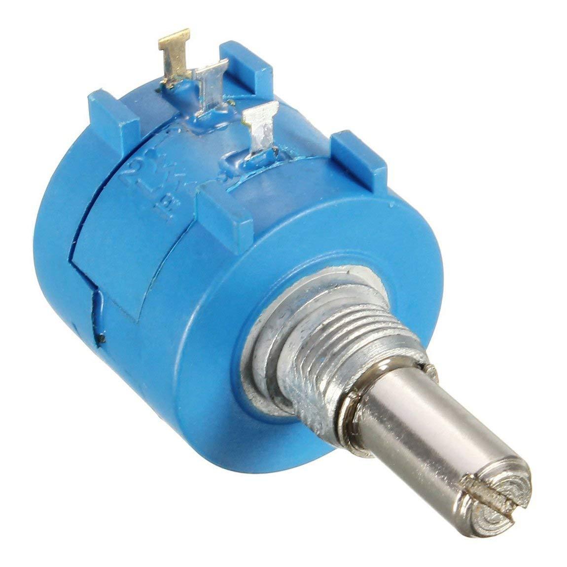 Potenziometro multigiro di precisione 3590S 10 Potenziometro resistore regolabile ad anello Potenziometro a filo variabile 50k Ohm /& colore: blu