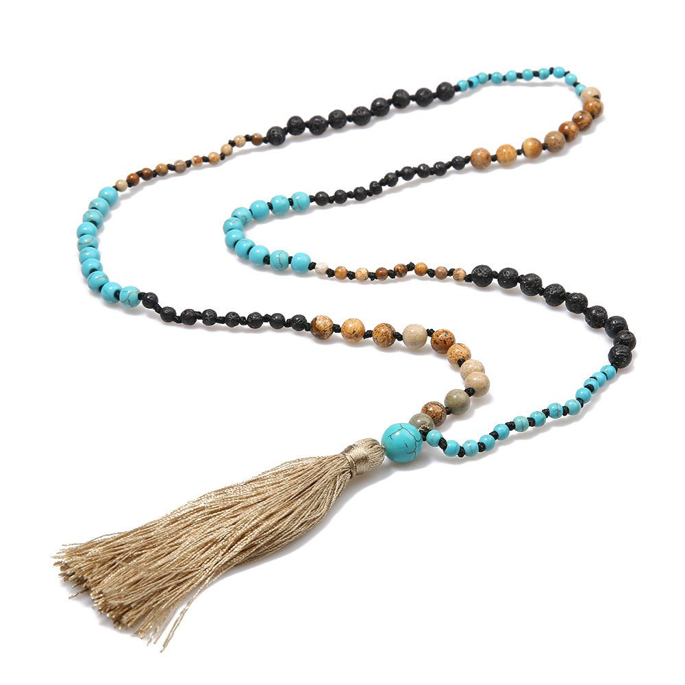 Molike Tassel Lava Rock Natural Stone Turquoise Beads Necklace Strand Long Statement Jewelry for Women (Turquoise Necklace)