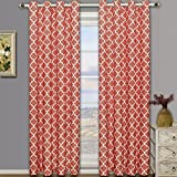 Meridian Coral Grommet Blackout Window Curtain Drapes, Pair / Set of 2 Panels, 52×63 inches Each, by Royal Hotel For Sale