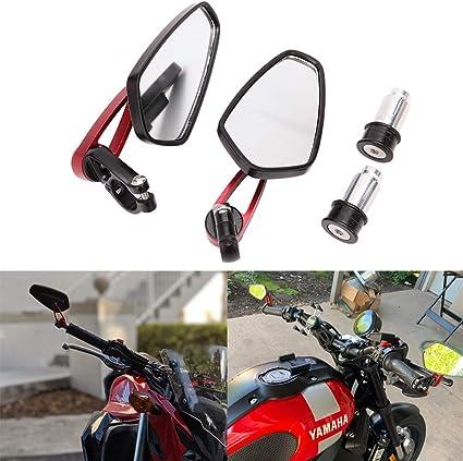 7 8 22mm Universal Motorrad Rückspiegel Spiegel Rot Lenker Seitenspiegel Für Scooter Cruiser Sport Bike Chopper Auto