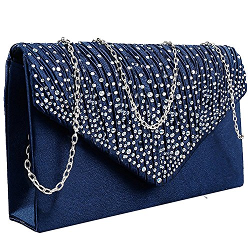 Jubileens Ladies Large Evening Satin Bridal Diamante Ladies Clutch Bag Party Prom Envelope (Navy)