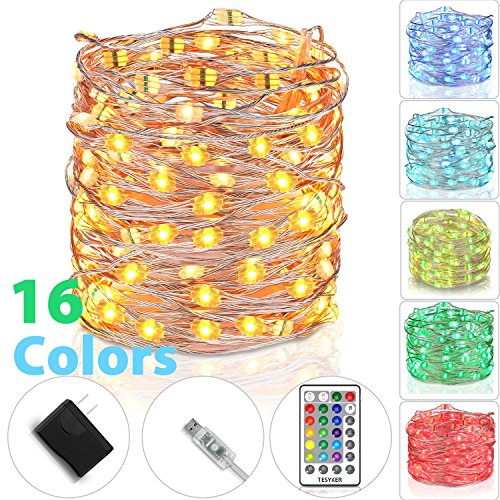 tesyker Fairy Lights, USB Powered Dimmable 16 Colors 33 Ft 100 LEDs Multicolor Silver Wire Color Lights with Remote, Waterproof String Lights for Indoor Bedroom Christmas Wedding Costume by tesyker