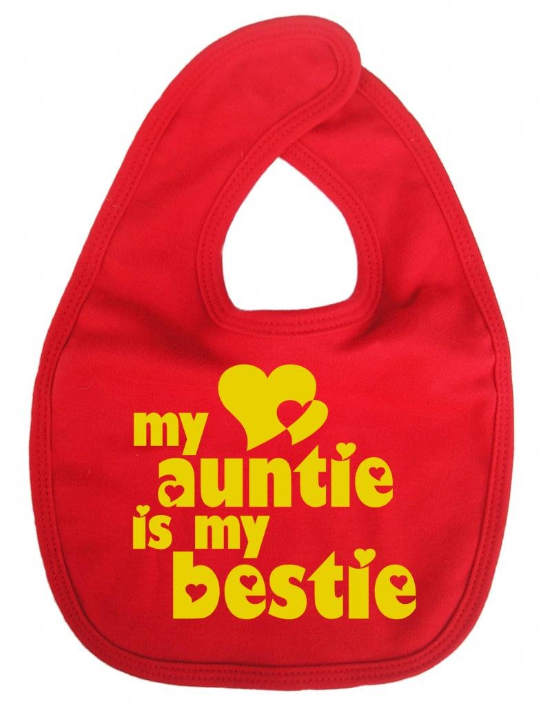 Dirty Fingers, My Auntie is my Bestie, Baby Unisex Feeding Bib, Navy DFBIBAuntieBestieN