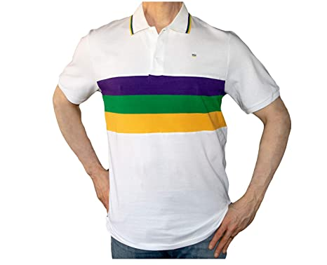 d3703548 Poree's Embroidery Mardi Gras Polo Shirt Short Sleeve White (Small)
