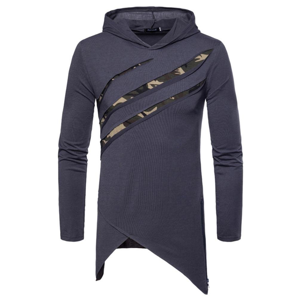 Clearance Sale! Wintialy Men's Pure Color Camouflage Stitching Hoodie Long Sleeve Shirt Top Blouse
