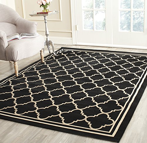Rain Rug Black (Safavieh Courtyard Collection CY6918-226 Black and Beige Indoor/ Outdoor Area Rug (6'7