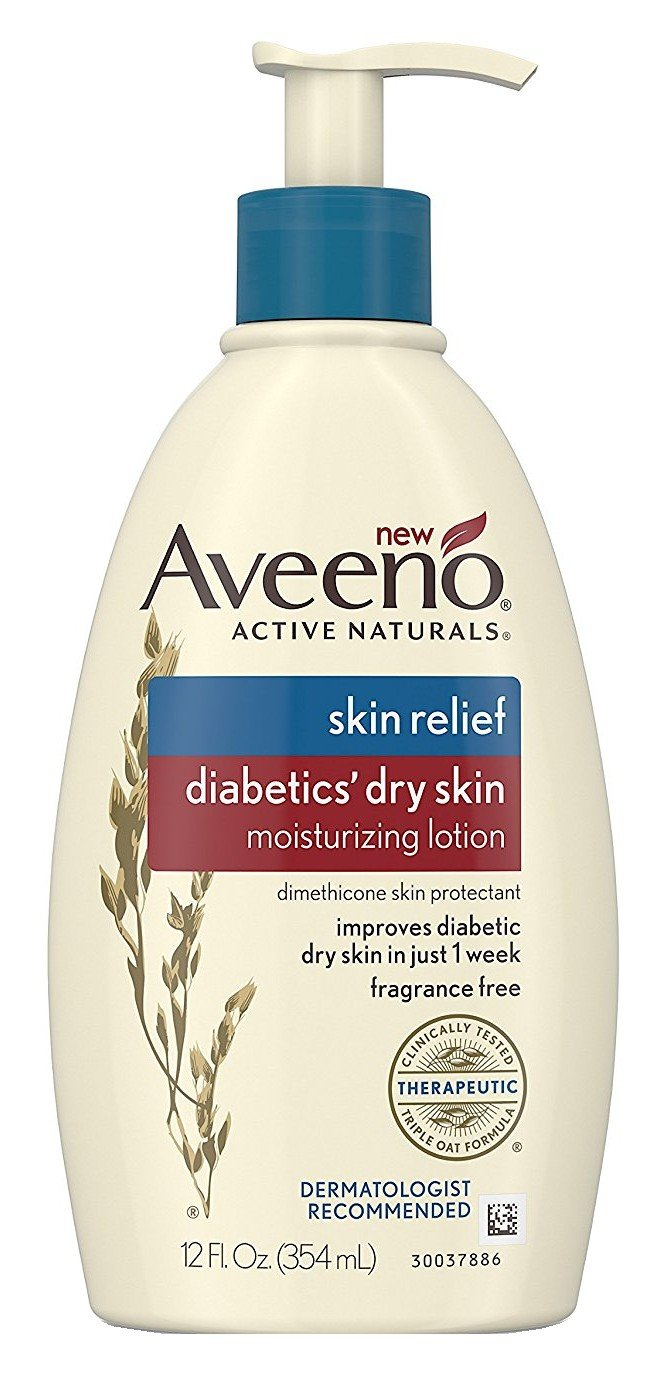 Aveeno Diabetics' Dry Skin Relief Lotion with Triple Oat Complex & Natural Shea Butter, Steroid-Free & Fragrance-Free Dimethicone Skin Protectant for Diabetic Skin Care, 12 fl. oz (Pack of 2)