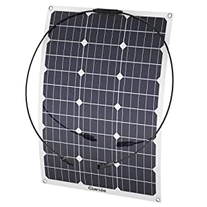 GIARIDE 50W 18V 12V Solar Panel Monocrystalline Cell Flexible Bendable Lightweight Waterproof Off-Grid Solar Power System Charger for RV, Camping, Boat, Caravans, Motorhome and 12V Battery Charging