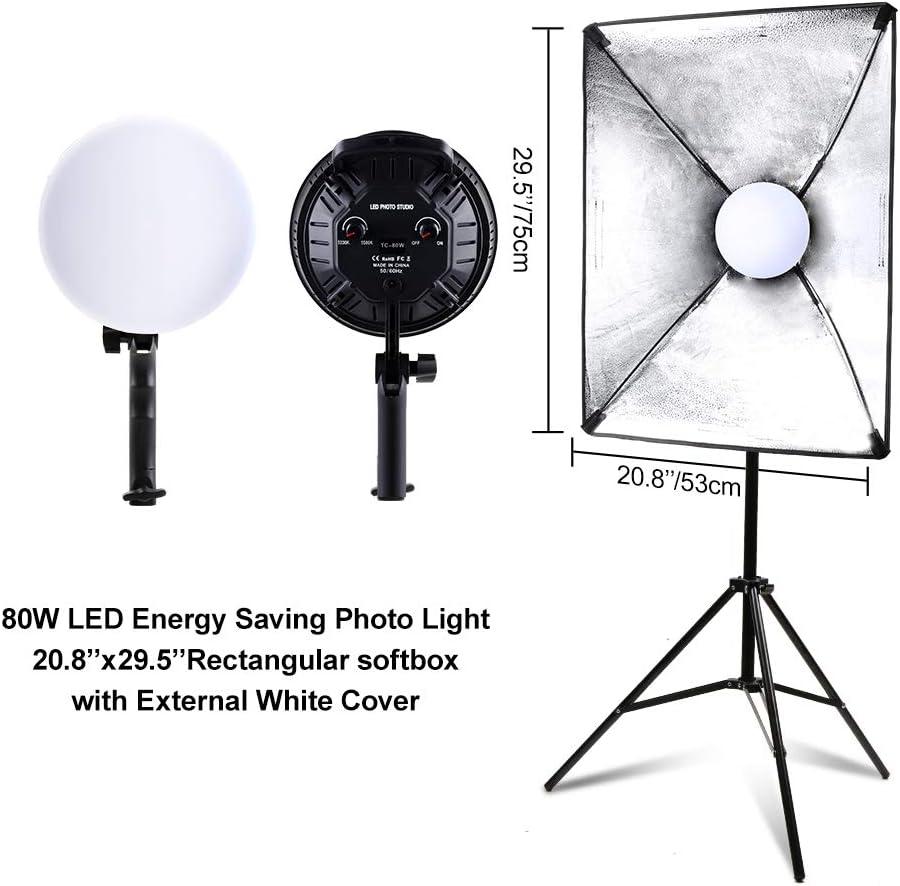 Set de iluminaci/ón para estudio fotogr/áfico 2700 W, luz continua, con soporte ajustable de 2 m y LED de intensidad regulable de 3200 a 5500 K SEDGEWIN Softbox