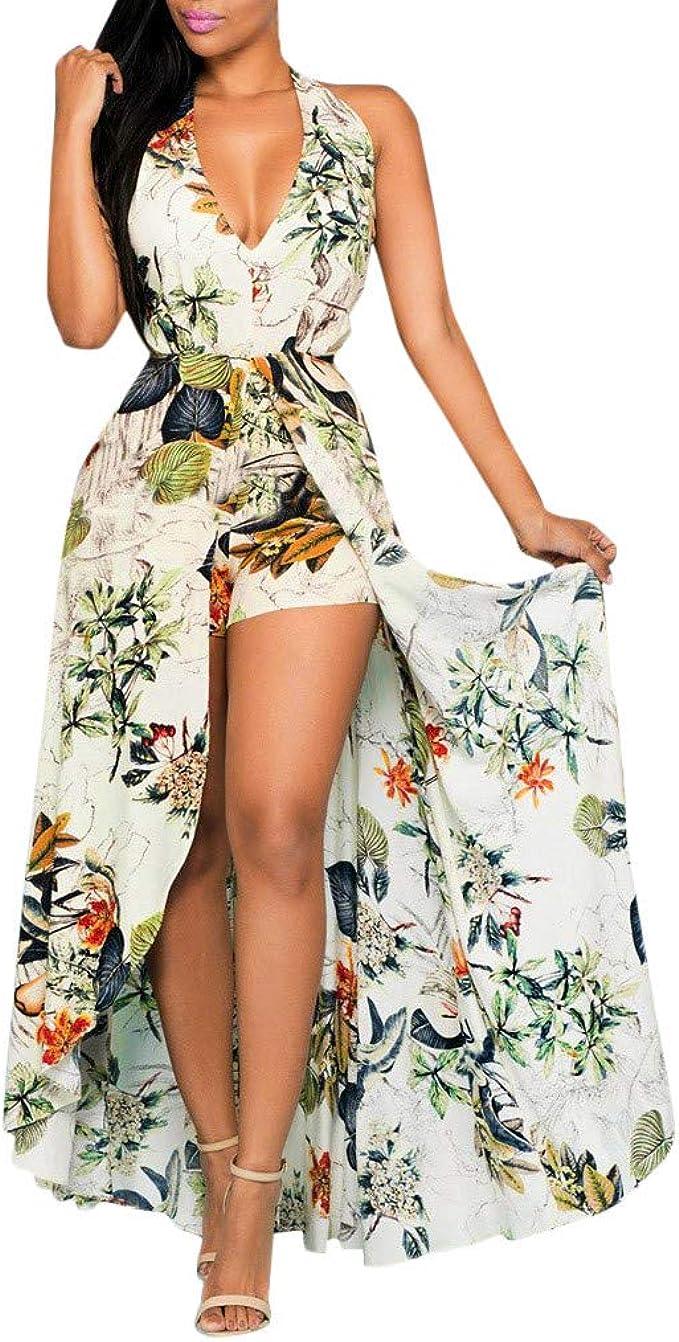 Womens Halter V Neck Floral Party Split Maxi Romper Dress Fashion  Sleeveless Split Floral Jumpsuit