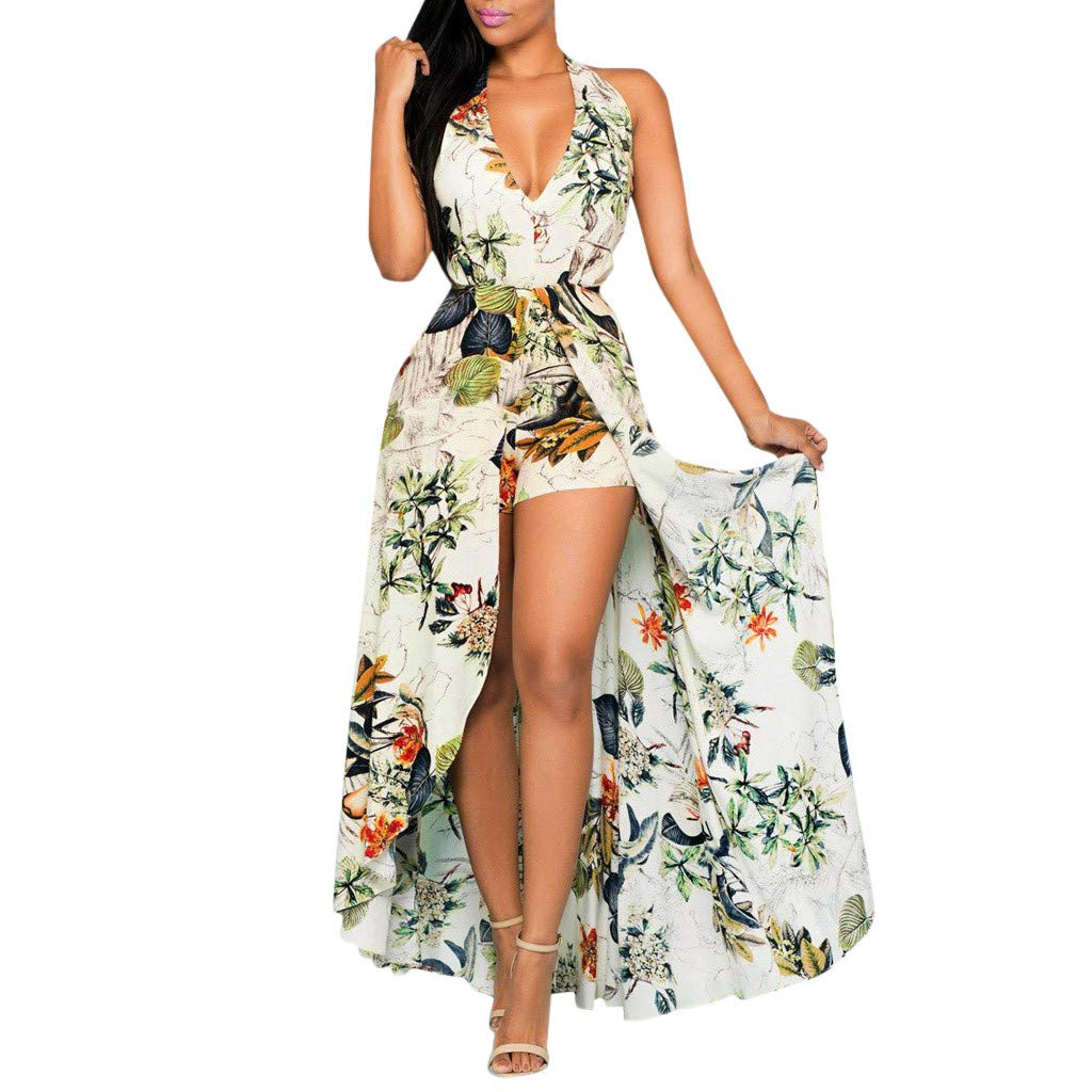 YEZIJIN Women Summer Off Shouder Flower Party Jumpsuit Playsuit Beach Trousers Culottes Under 10 Dollars by Yezijin_Dress
