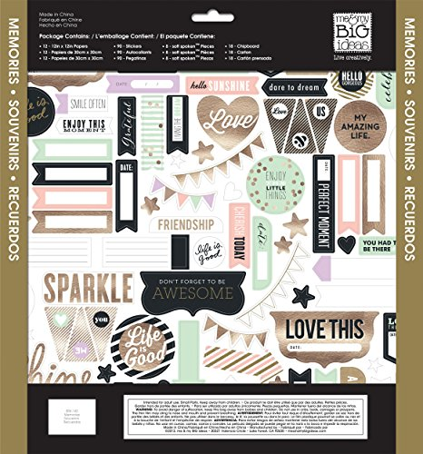me & my BIG ideas Scrapbook Page Kit, Gold Rush, 12-Inch by 12-Inch ()