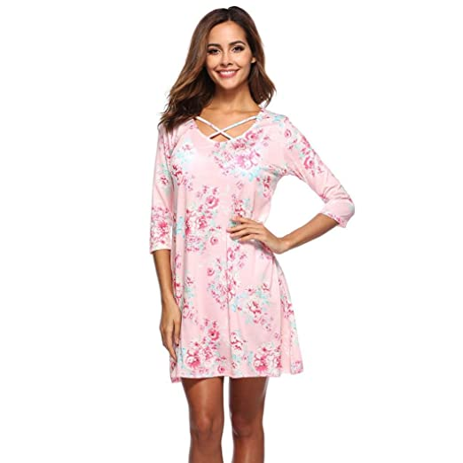 9c3cf9d9af2 Image Unavailable. Image not available for. Color  HODOD Women s Summer 3 4  Sleeve Floral Printed Bandages Casual Daily Mini Dress