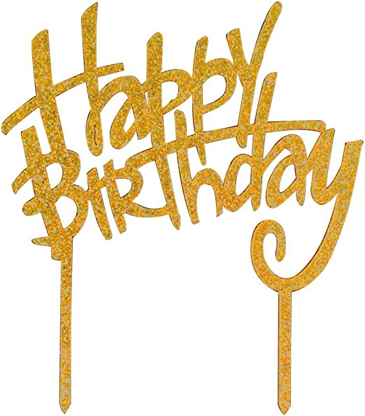 Remarkable Amazon Com Happy Birthday Cake Topper Glitter Gold Acrylic Funny Birthday Cards Online Benoljebrpdamsfinfo