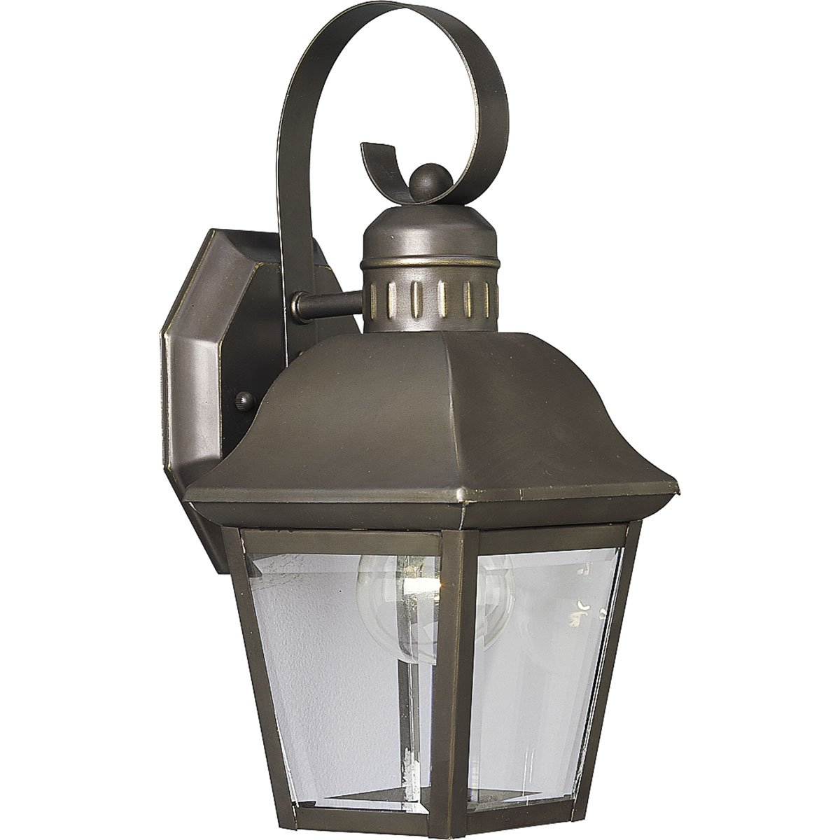 Progress Lighting P5687-20 1-Light Andover Small Wall Lantern with Solid Brass Construction, Antique Bronze