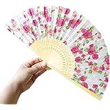 Zarupeng Bambus Faltbar Handfächer, Blumen Muster Spitze Fächer Silk faltender Hand-Fans, Tanz Hochzeits Partei Tuch Dekoration (One Size, C)