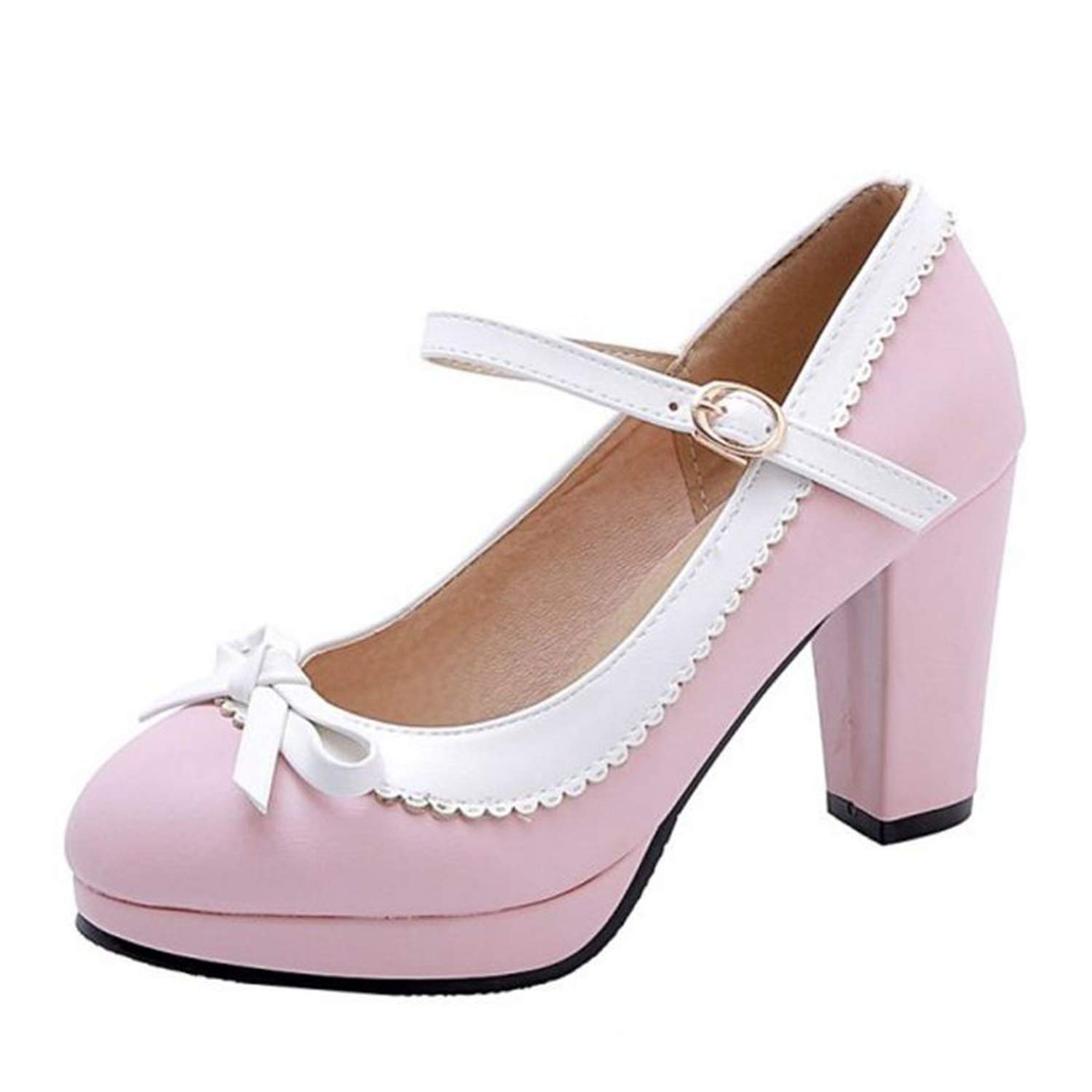 mamamoo Women New Sweet Spring Pumps Bowknot 4 Colors Party Wedding Daily High Heel Shoes Women,Pink,9
