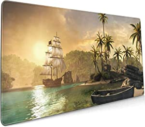Non Slip Mouse Pad Assassins Creed Black Flag Fantasy Fighting 15.7x35.4 Inch
