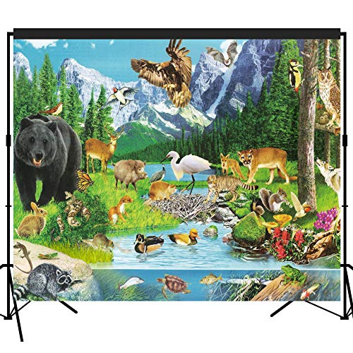 musykrafties Woods Animals Scenic Backdrop Large Banner Photography Studio Fabric Background Photobooth Prop 7x6feet #2196