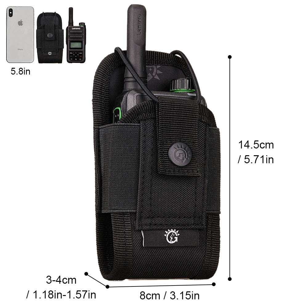 Sac Housse de Talkie-Walkie Molle Tactique Sacoches Multifonctionnel Radio Pouch L/éger Poche /étui pour Interphone Sports Plein air,Brun