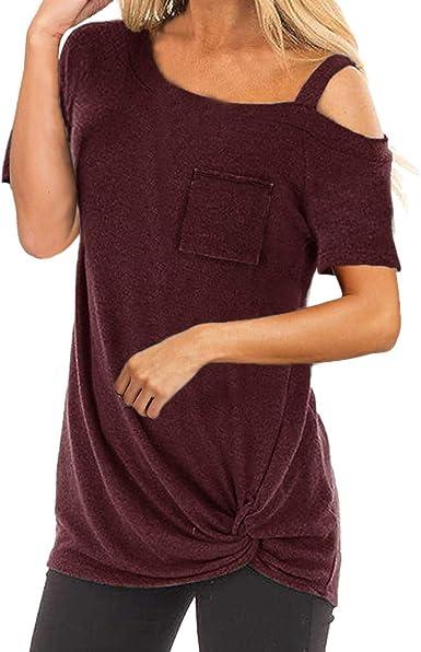 Camiseta Mujer Elegante Sexy Manga Corta Color sólido Hombro sin Tirantes Moda Fiesta Blusa Camisa Suelto Verano Camiseta Tops Casual T-Shirt Original vpass: Amazon.es: Ropa y accesorios