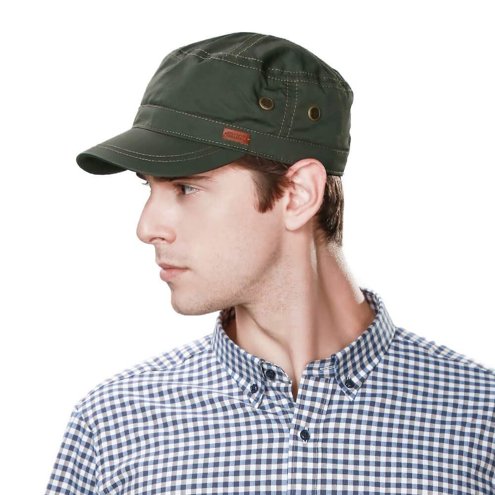 Fancet Large Head Mens Cotton Army Cap Military Size 8 Cadet Corp Hat Women Baseball Green XXL 61-64cm by Fancet