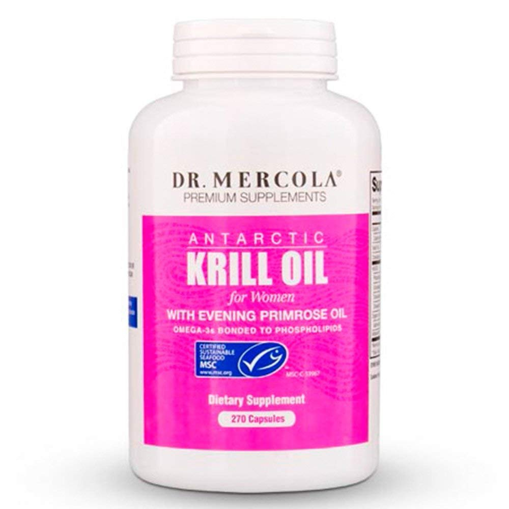 Dr. Mercola Antarctic Krill Oil for Women - 90 Capsules - With Evening Primrose Oil - 1000MG Omega 3 Supplement With EPA DHA GLA & Astaxathin - Odorless & Mercury Free