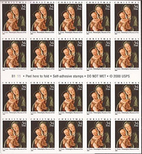 (2001 Christmas Virgin & Child - Booklet Pane Twenty 34 Cent Stamps Scott 3536 )