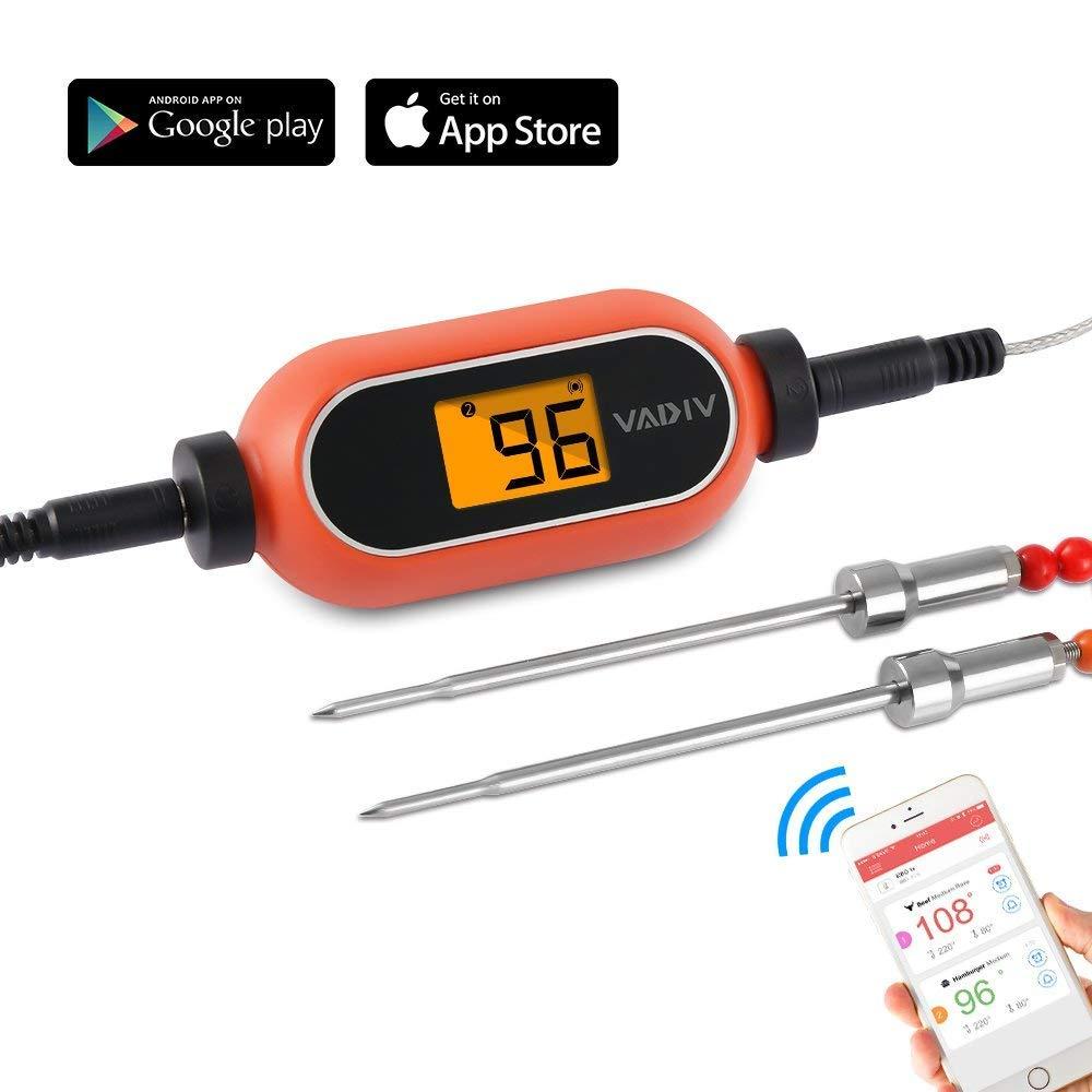 Termómetro Cocina Digital, VADIV Termómetro de Barbacoa Inalámbrico Alarma Inteligente con 2 Sondas Acero Inoxidable y Pantalla LCD para BBQ Carne ...
