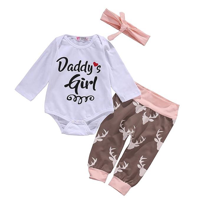 Recién nacido Baby Top Pelele + Deer Polainas Pantalones cinta 3pcs ...