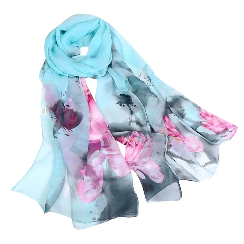 Fashion Scarfs for Women Hot Sale,DEATU Girls Floral/Lotus Printing Long Soft Wrap Scarf Ladies Shawl Scarves(c-D)