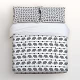 Libaoge 4 Piece Bed Sheets Set, Cute Grey Cartoon Elephants in Line Pattern Design for kids, 1 Flat Sheet 1 Duvet Cover and 2 Pillow Cases