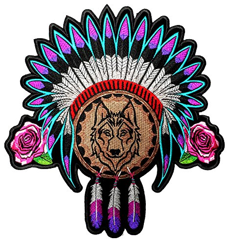 Leather Supreme Native American Indian Headdress, Wolf, Roses, Feathers Patch