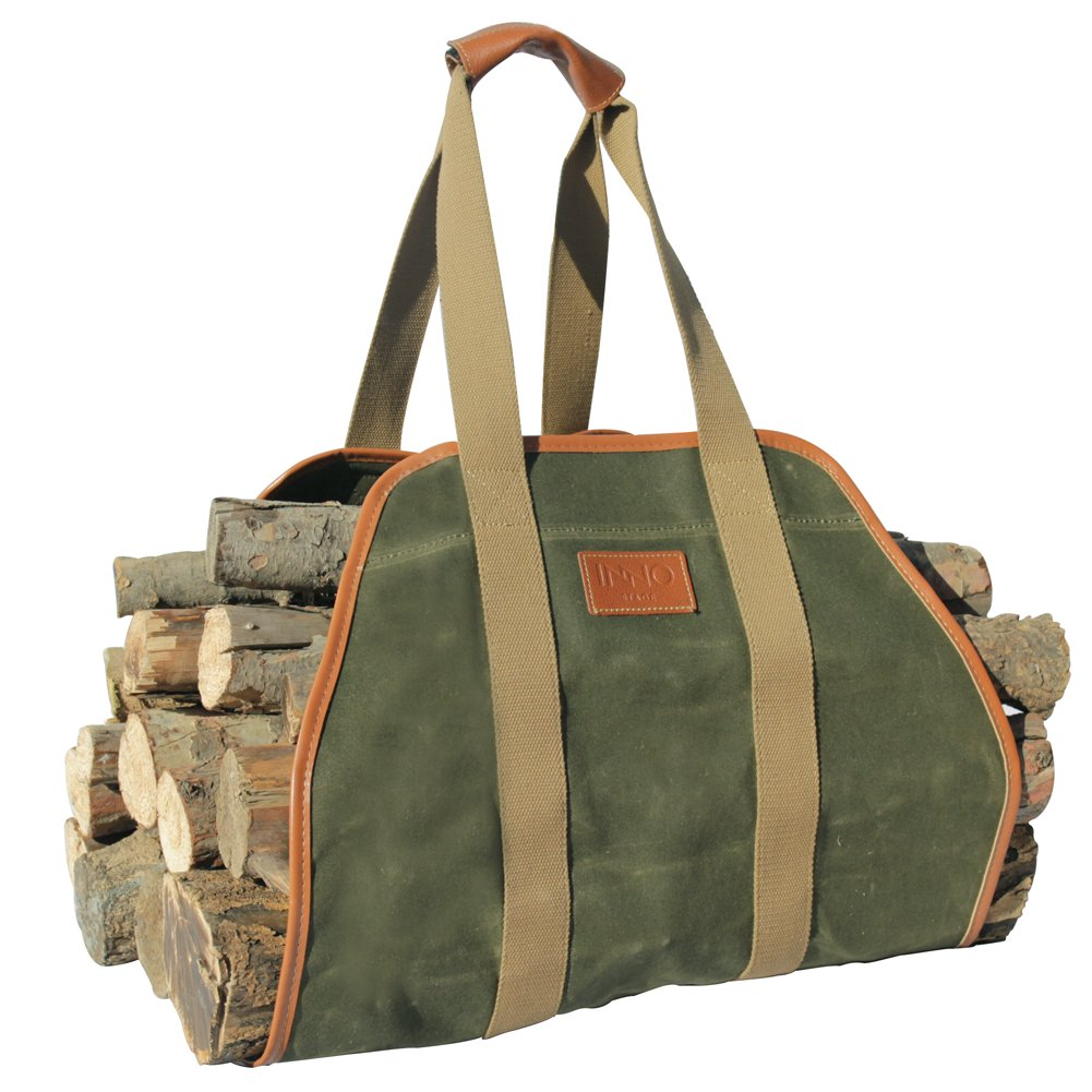 INNO STAGE Waxed Canvas Log Carrier Tote Bag,40''X19'' Firewood Holder,Fireplace Wood Stove Accessories by INNO STAGE