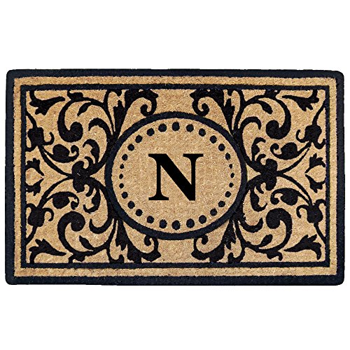 Creative Accents Heavy Duty Heritage Coco Mat, Monogrammed N, 18 x 30