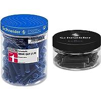 Schneider p006803 Bote de 100 cartuchos + cartucho de tinta estándar para pluma estilográfica, negro, 30 Bote redondo