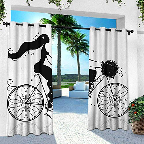 Hengshu Black and White, Outdoor Curtain for Patio,Outdoor Patio Curtains,Young Woman Silhouette with a Bouquet of Spring Flowers Cycling Bridal, W120 x L108 Inch, Black and White ()