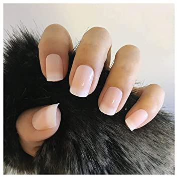 Amazon.com : Drecode French Nails Full Cover Short Press on Natural ...