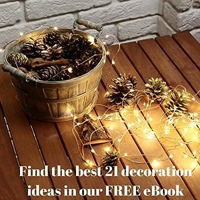 LED Christmas Lights - 100 Twinkle Led Christmas Lights - Indoor&Outdoor - 33-Feet Discount Christmas Lights - Warm White String Lights for Bedroom + Free eBook