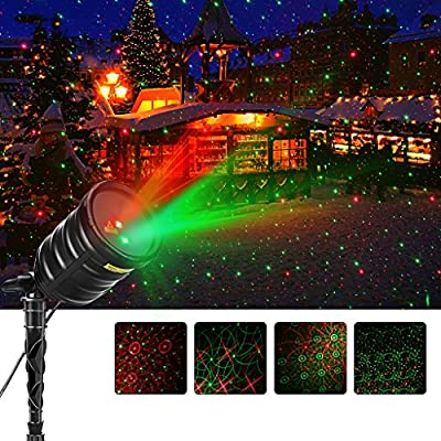 Suaoki Christmas Laser Light Outdoor Projector lights Red/Green Star Light Show with IR Wireless Remote Control, Timer, IP65 Waterproof for Xmas Halloween Holiday Party Garden Decoration Lighting
