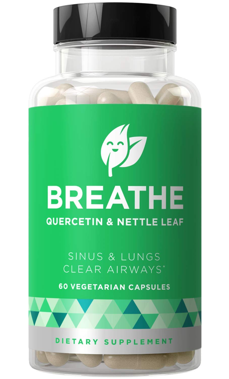 Breathe Sinus & Lungs Breathing - Seasonal Nasal Health, Open and Clear Airways, Bronchial Wellness, Healthy Chest - Quercetin, Nettle Leaf, Bromelain Pills - 60 Vegetarian Soft Capsules by Eu Natural