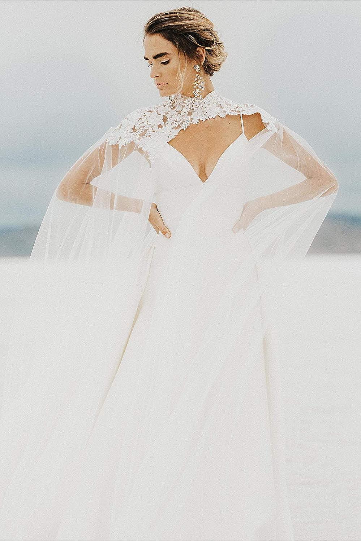 Cibelle Lace Applique Tulle Wedding Capes High Neck Bridal Cloaks Wraps Jacket