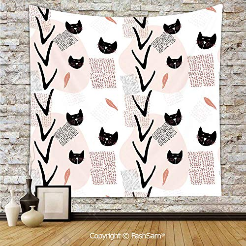 Tapestry Wall Hanging Cute Cat Faces with Dotted