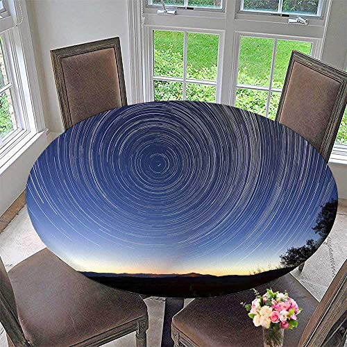 Mikihome The Round Table Cloth The Star Track in The Blue Night Sky for Birthday Party, Graduation Party 47.5