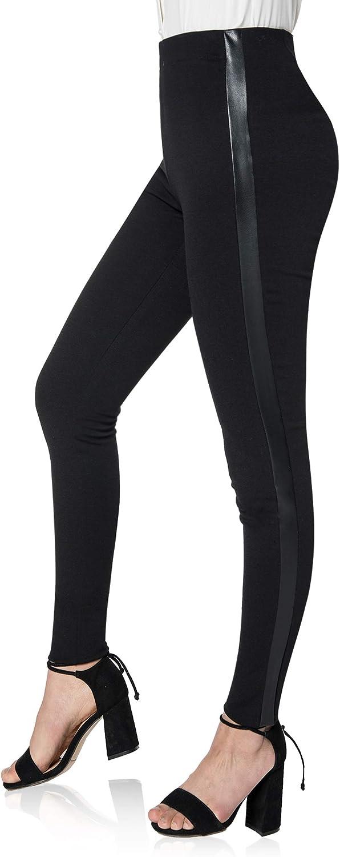 Asoran Women's Black Dress Pants High Waist Ponte Knit Tuxedo Pants Stretch Straight Slacks with Leather Stripe