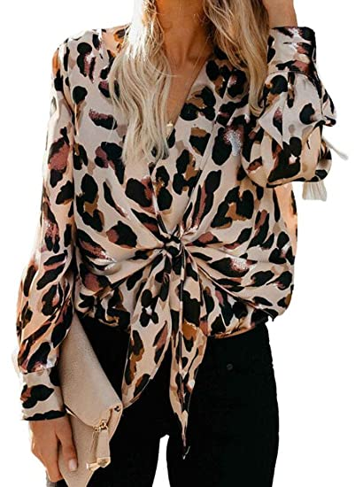 604e0cd72098 CRYYU Women Long Sleeve Lace-Up V Neck Sexy Leopard Print Loose Top T-Shirt  Blouse at Amazon Women s Clothing store