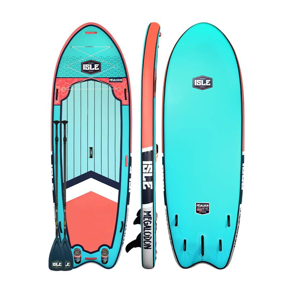 ISLE Surf & SUPメガロドン | 12フィート & 15フィート インフレータブルスタンドアップパドルボード | 8インチ厚 iSUPとバンドルアクセサリーパック | 耐久性があり軽量 | 安定した幅広いスタンス | 最大耐荷重1,050ポンド B07P5H96HD アクア 12'