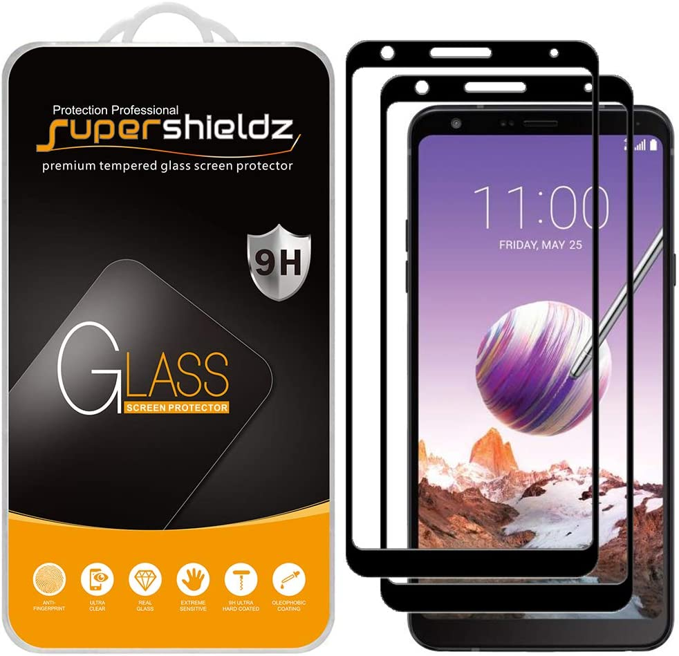 (2 Pack) Supershieldz for LG (Stylo 4 Plus) Tempered Glass Screen Protector, (Full Screen Coverage) Anti Scratch, Bubble Free (Black)