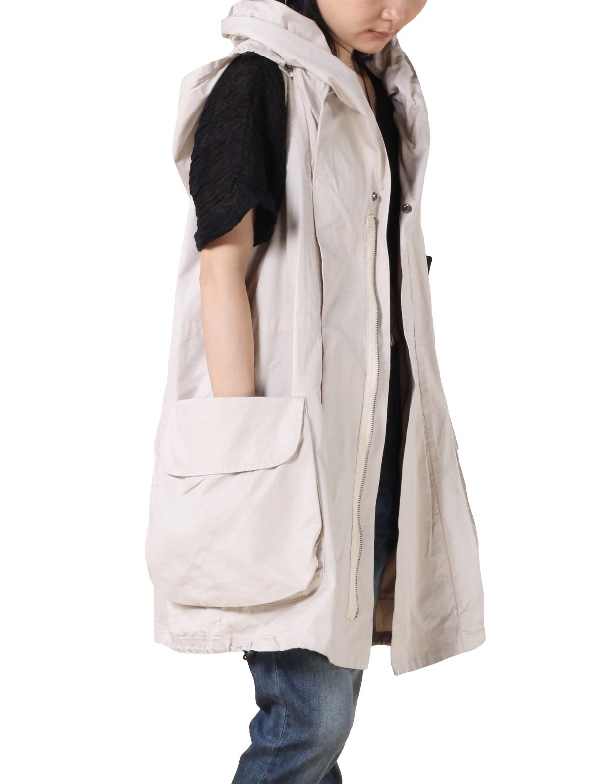 Mordenmiss Women's Sleeveless Coat Vest Hoodie Waistcoat Anoraks with Big Pockets Style 1 M Sand