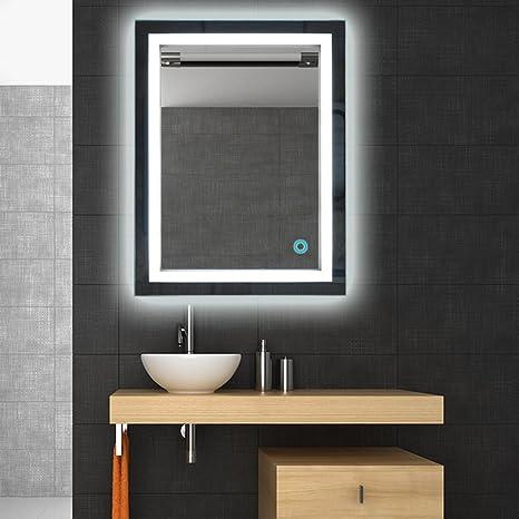 Badspiegel LED Beleuchtung Wandspiegel Badezimmerspiegel mit Touchschalter  ( 50 x 70 cm, kaltweißen)